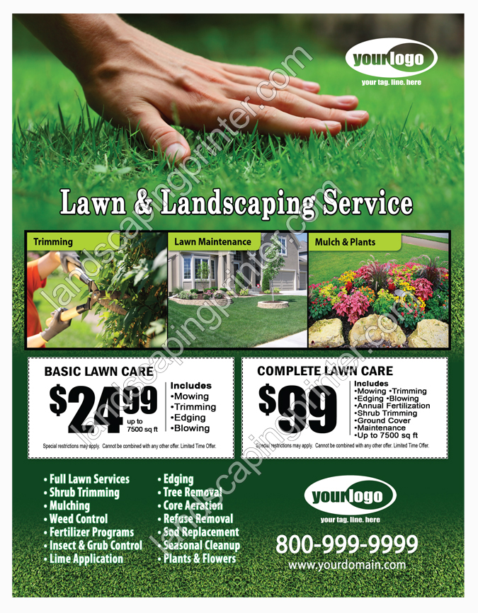 landscaping flyers templates - lawn care flyers grass